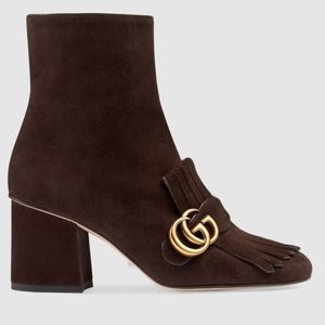 Gucci Marmont Brown Suede Fringe Boots